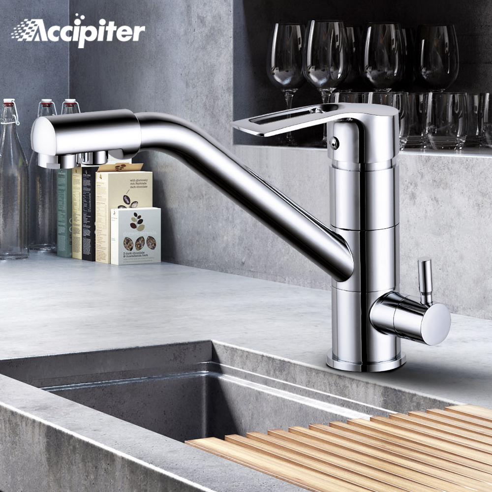 Kitchen Faucet Chrome Brushed 360 Rotation Kitchen Sink Faucet with Filtered Water Mixer Taps Faucet Kitchen Sink Tap Black