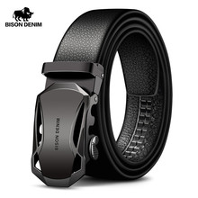 BISON DENIM Mens Belt Cow Leather Belts Brand Fashion Automatic Buckle Black Genuine for Men 3.4cm Width N71314