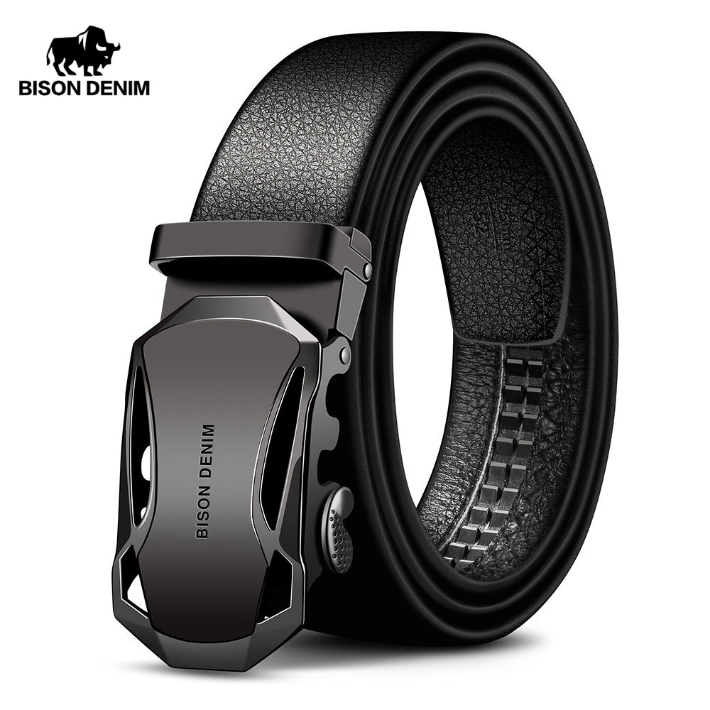 BISON DENIM Men's   Belt   Cow Leather   Belts   Brand Fashion Automatic Buckle Black Genuine Leather   Belts   for Men 3.4cm Width N71314