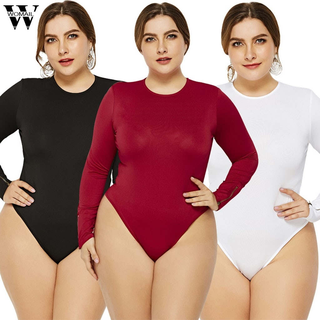Womail plus size bodysuit Women fashion Sexy long Sleeve Bodysuit Bandage Skinny Romper fashion fall Female Overall Bodysuit