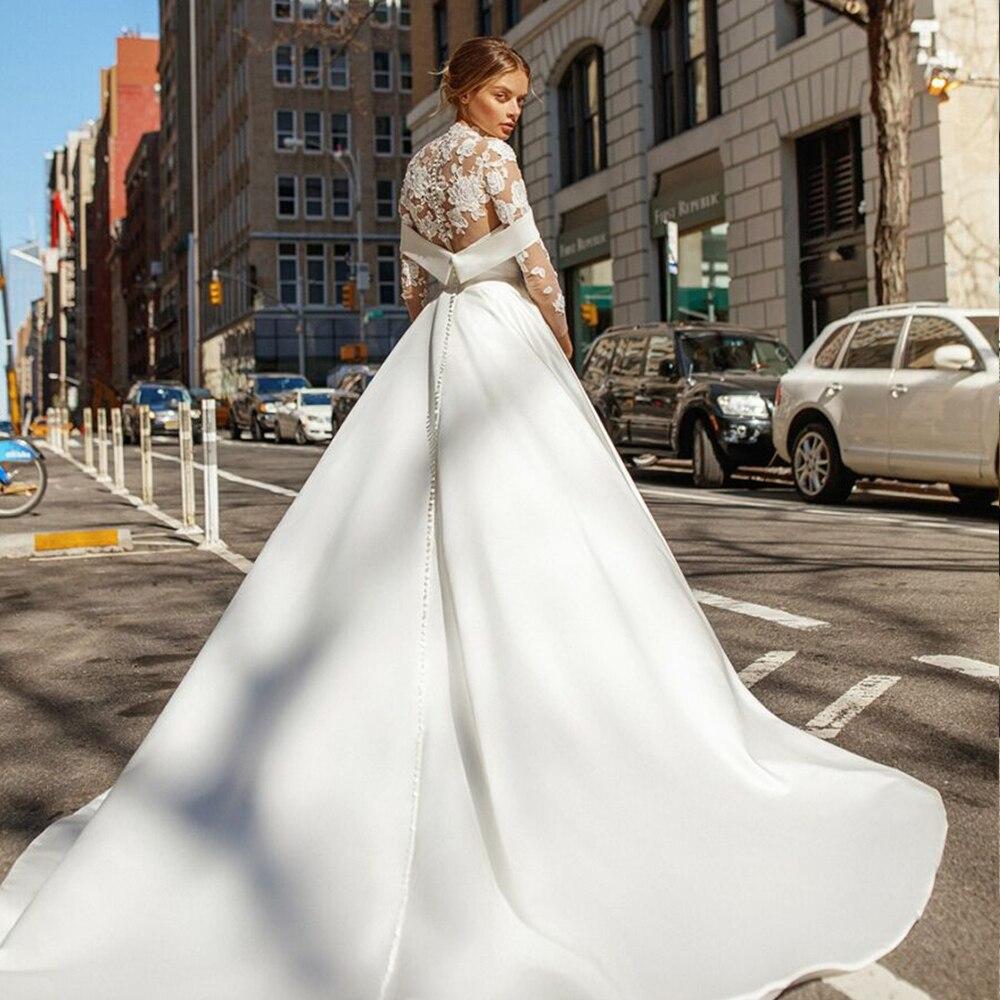 Vintage Design High Neck Wedding Dress Lace Long Sleeve Off Shoulder Satin Princess 1960s Classic Vestidos De Noiva Bridal Gowns
