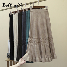 Skirts Womens Sweater Plaid Casual Woman Beiyingni Vintage High-Waist Solid for Elastic