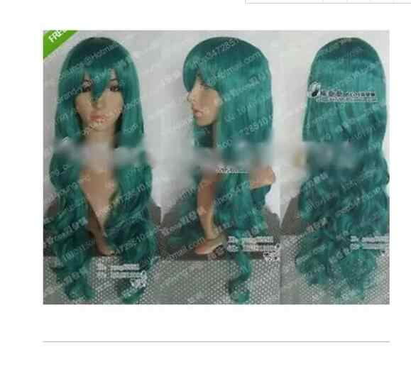 Zhaoxia + + 07802 @ Q8 @ * + + + VERZENDING Sailor Moon Sailor Neptunus Cosplay Long Dark Green Pruik