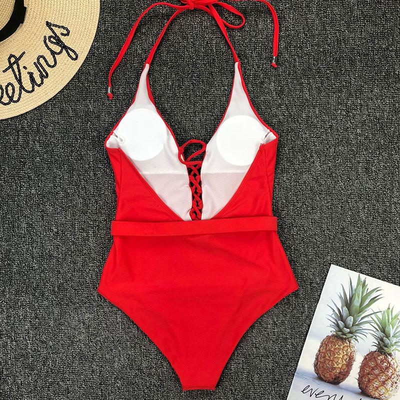 Одноцветный купальный костюм с бретельками, модель 2020 года, сексуальный купальник для женщин, с поясом, с высокой посадкой, пляжная одежда, u-... 64