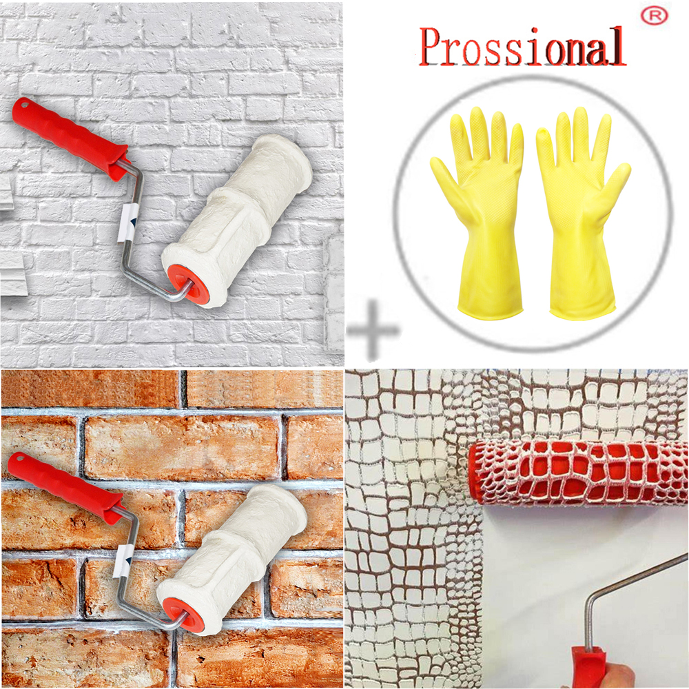 DIY Pattern Paint Roller Polyurethane Tool Brick Embossing Roller For Wall Decoration, Imitation Brick Pattern Embossing Cylinder Painting Roller  Stamp Roller Pattern Paint Roller Polyurethane Tool