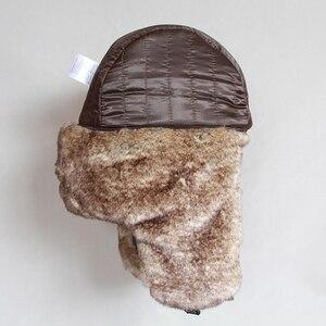 Image 5 - Winter Bomber Hoeden Vintage Russische Ushanka Caps Mannen Vrouwen Faux Fur Trapper Hoed Pu Leer Wind Proof Oorklep Trooper Hoeden