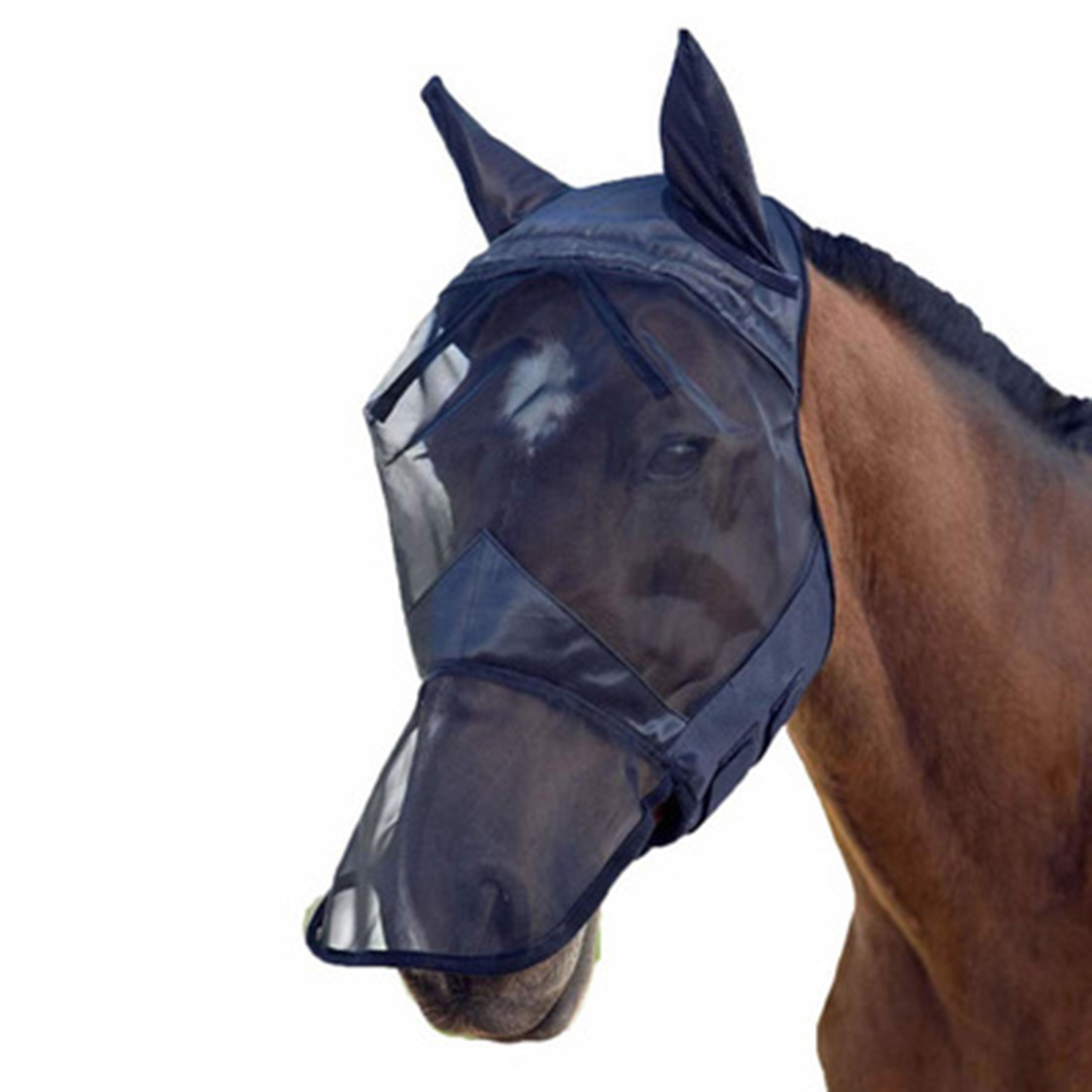 Outdoor Polyester Horse Fly Mask Hood Full Face Mesh Fleece Padded Anti-UV Breathable Anti-mosquito