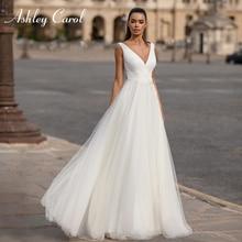 Ashley carol simples a linha vestido de casamento 2020 tule v decote vestido de noiva sem mangas apliques vestidos de noiva vestido de novia