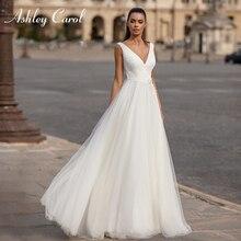 アシュリーキャロルシンプルなaラインのウェディングドレス2020チュールvネック花嫁のドレスノースリーブアップリケブライダルドレスvestidoデ · ノビア