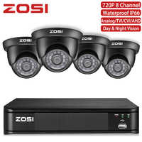 ZOSI 8 Channel 1MP CCTV System Video Len Dome Camera Nightvision Monitor BNC Cable Remote View Control Recorder DVR Kit HDD Disk