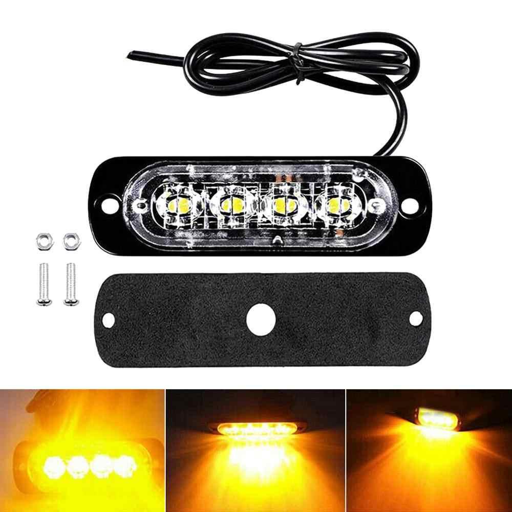 1PC 12V 24V 4LED stroboscopique voyant lumineux barre clignotant camion Super lumineux attention d'urgence étanche ambre pour voiture Auto SUV Van