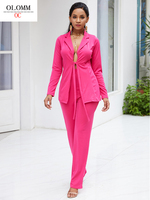 OLOMM Professional clothing Women autumn Elastic band Sexy Two piece suit fashion Solid color long sleeve suit