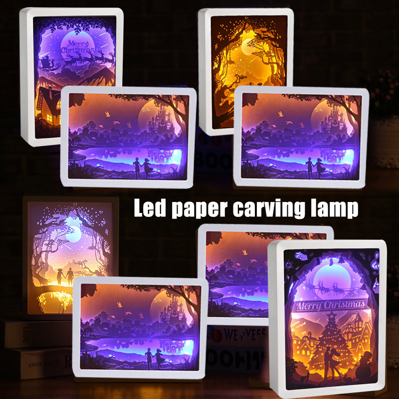 2019 New 3D Night Lamp Paper Pattern Painting LED Table Shadow Box Frame Party Home Decor Christmas Lights J8 #3