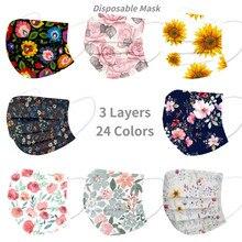 Mascarilla facial desechable con estampado Floral para adultos, máscara de tela soplada de 3 capas, máscara de filtro, 10 Uds.