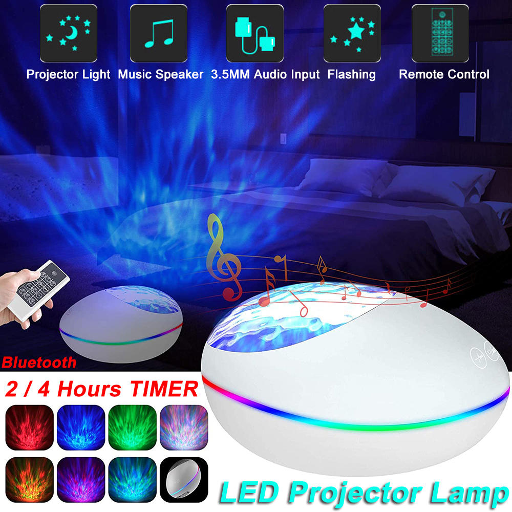 LED Starry Sky Night Light Bluetooth Music Water Wave Projector With 21 Lighting Modes Remote Control Timer USB Powered Lamp D40