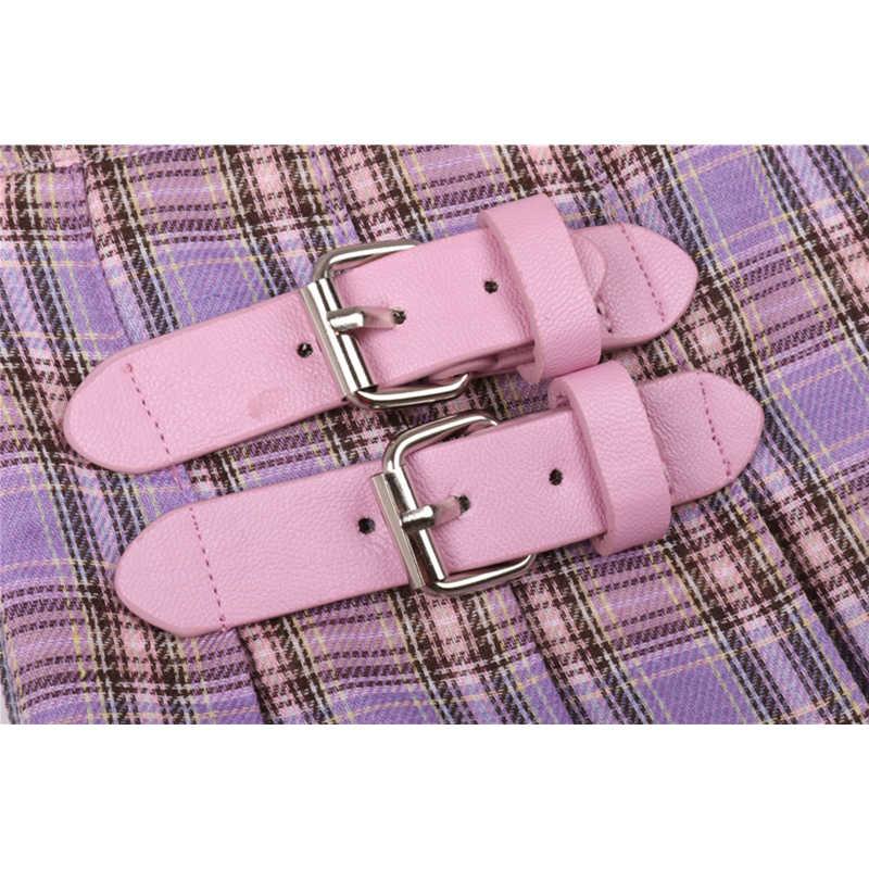 Flectit fioletowy Plaid plisowana Mini spódnica wysokiej zwężone z klamrą Kawaii krótka spódnica styl Preppy szkolne stroje *