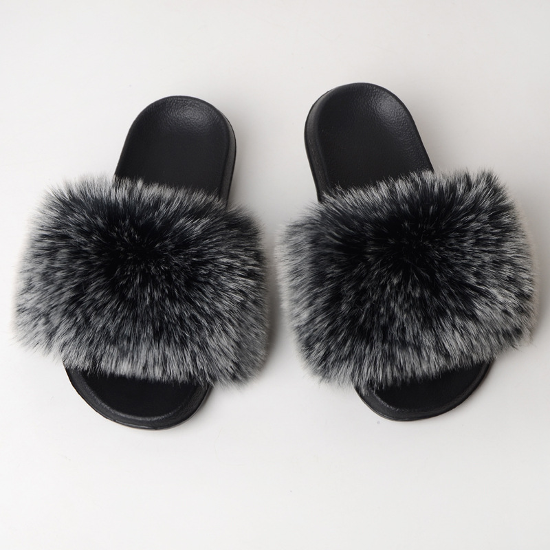 Solid Color Faux Fox Fur Slides Summer Home Furry Flat Sandals Indoor Faux Fox Fur Slippers Casual Luxury Fluffy Flip Flops TX04