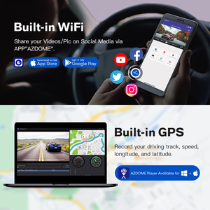 Image 4 - AZDOME GS63H Auto Dash Cam 4K 2160P Dash Kamera Dual Objektiv Gebaut in GPS DVR Recorder Dashcam Mit wiFi G Sensor Loop Aufnahme