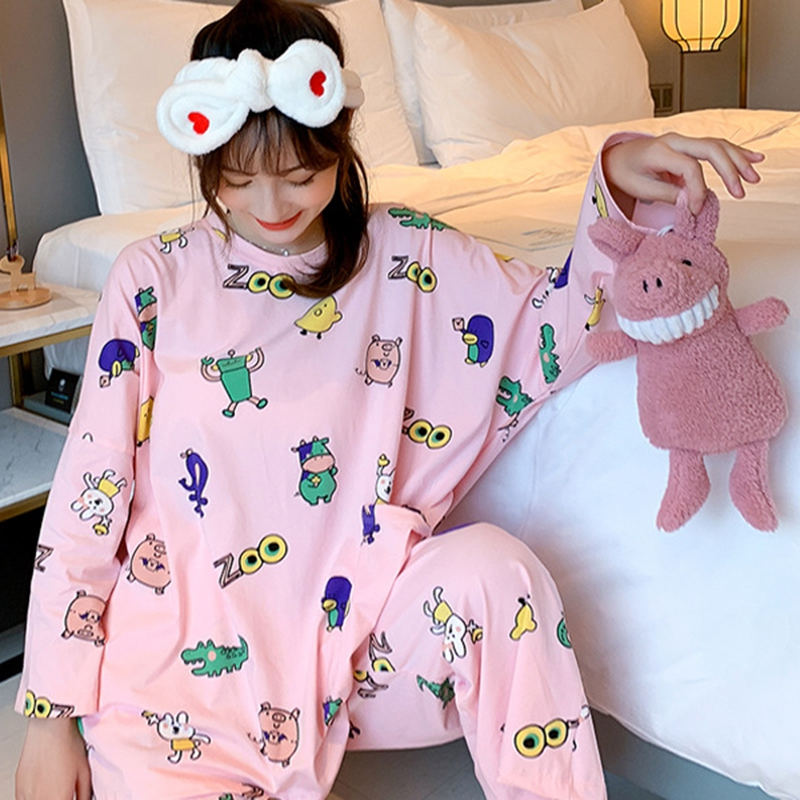 Autumn Winter Pajamas Women Three-piece Loose Cartoon Print Long-sleeved Large Size Home O-neck Shirt + Trousers Girls Sleepwear