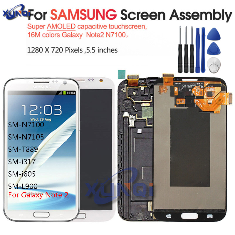 AMOLED LCD For Samsung Galaxy Note 2 N7100 N7105 LCD With Frame Display Touch Screen Complete+Tools Free Shipping image