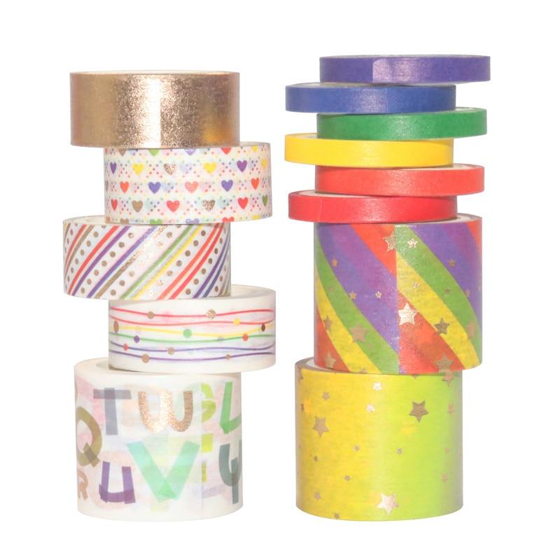 13Rolls/Set Rainbow Foil Washi Tape Set Paper Festival DIY Scrapbooking Adhesive Masking Tape Decorative Sticky Washi Tape