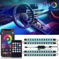 4 в 1 светодиодный украшение интерьера автомобиля светильник полосы Bluetooth APP Управление RGB автомобилей Атмосфера для естественного освещени...