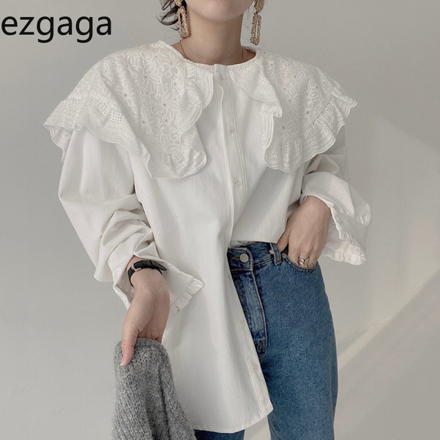 Ezgaga Blouse Women Korean Chic Vintage Long Sleeve Turn-Down Collar Embroidery Hook Flower Loose Solid Ladies Shirts Fashion 1