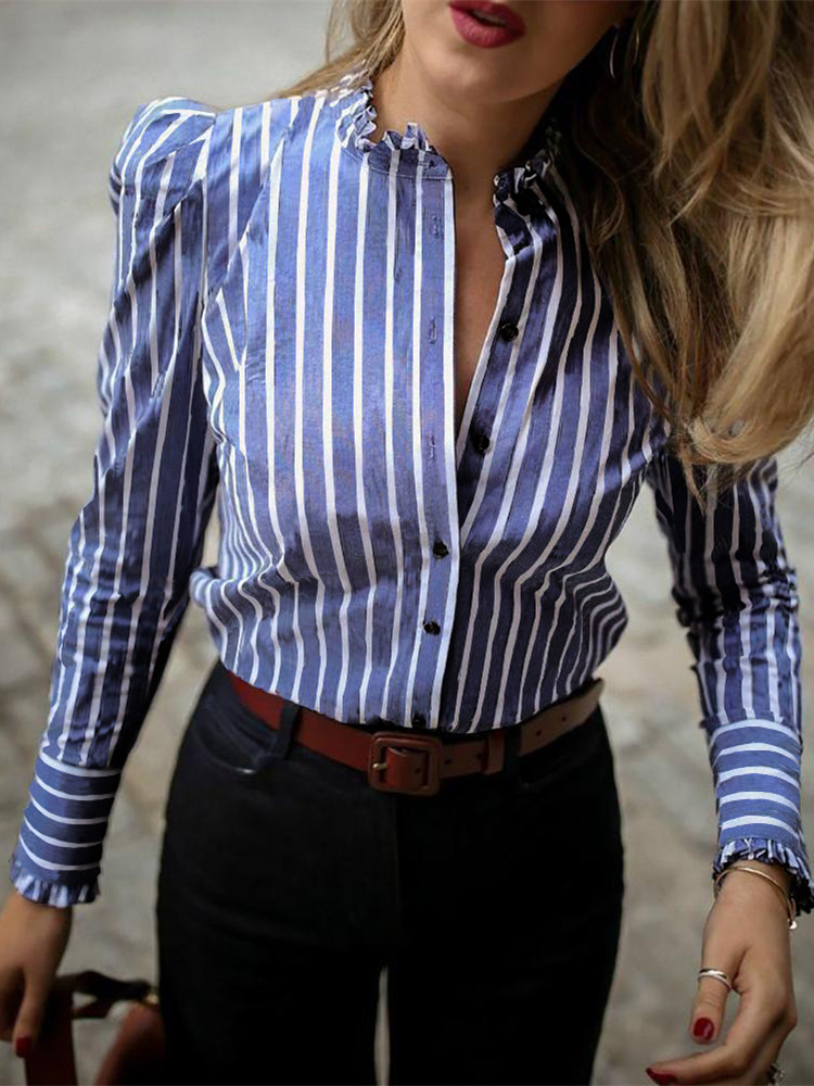 2020 Autumn Women Elegant Office Style Workwear Leisure Shirt Female Basic Top Striped Puffed Sleeve Frill Hem Casual Blouse