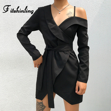 Fitshinling Fashion Autumn Winter Dresses For Women 2019 Streetwear Long Sleeve Slim Black Vestidos V Neck Irregular Short Dress
