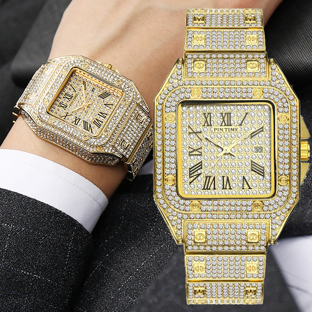 Square Diamond Men Watch Luxury Gold Iced Out Watch Big Dial Quartz Business Wrist Watch Hip Hop Male Clock Relogio Masculino