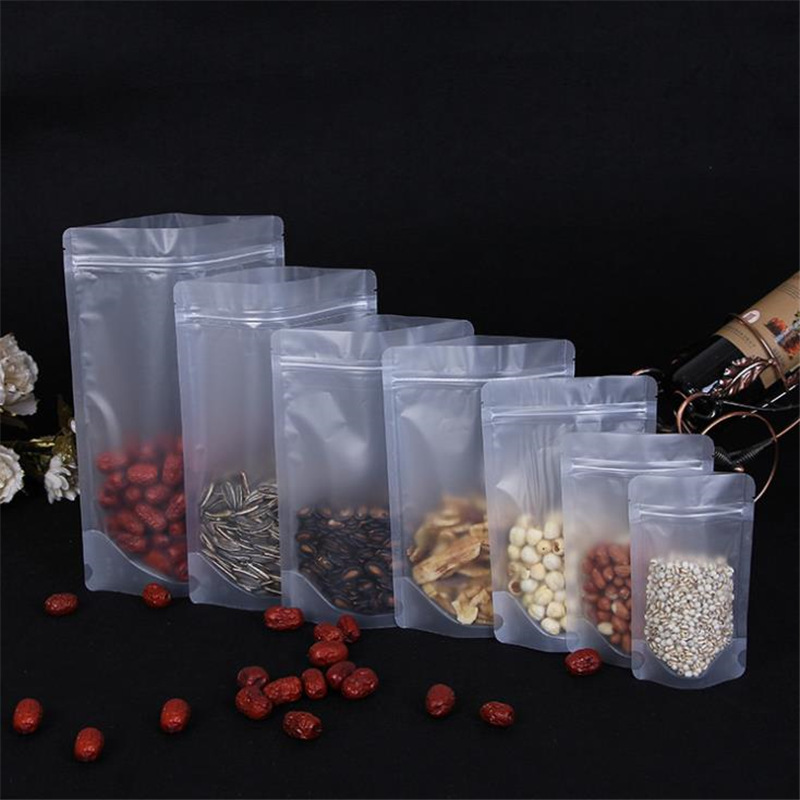 Sac demballage en plastique Transparent givré, pour aliments, café, noix, sucre, stockage, sacs à fermeture éclair refermables, lot de 50 pièces