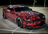 Premium Black Red Camouflage Vinyl Car Wrap Decal Film Sheet Air Channel Release Technology
