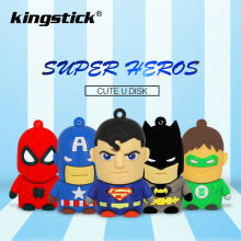 Superheros pendrive 4GB 8GB 16GB tania pamięć usb 32GB 64GB pendrive z motywem z kreskówki batman/spiderman/Captain America memoria usb(China)
