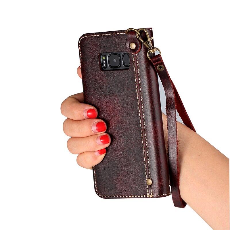 Retro vintage äkta kuskläder plånbokväska Flip Cover med pengar - Reservdelar och tillbehör för mobiltelefoner - Foto 3