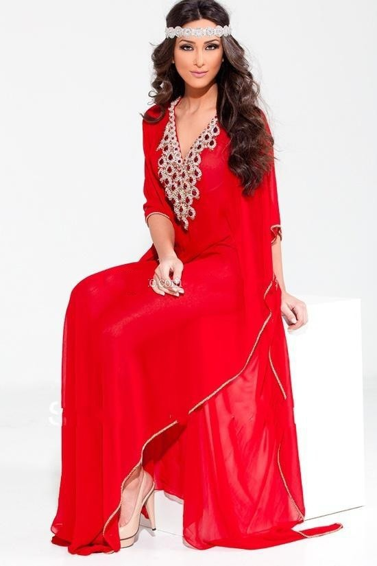 Trendy Arabic Dubai Abaya Jewel Beaded V Neck Chiffon Evening Prom Gown With Sleeves Red And Blue  Mother Of The Bride Dresses