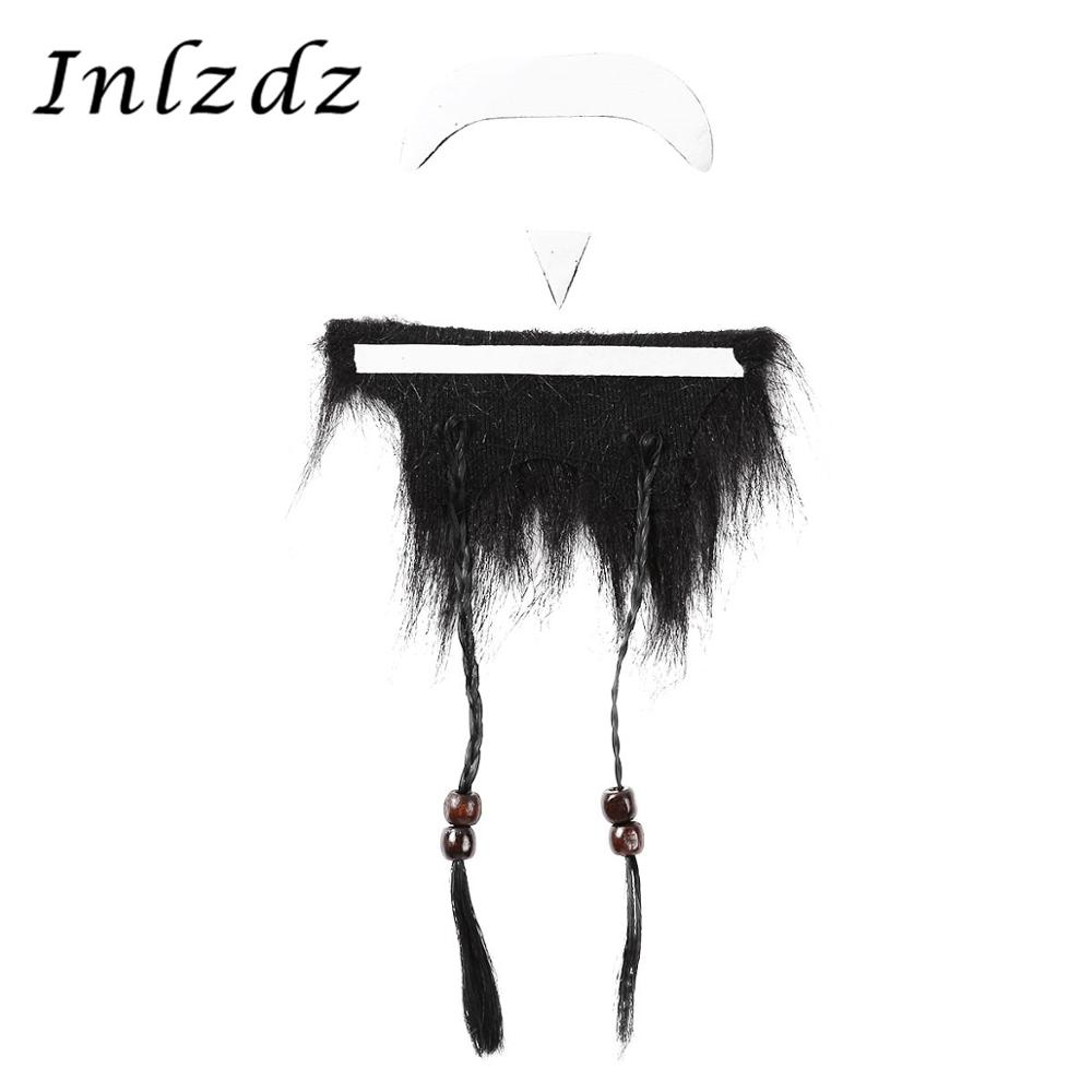2Pcs Festival Accessories Funny Fake Moustache With Full Beard For Adult Kids Fancy Cosplay Party Costume Festival Accessories