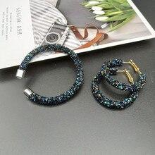 Комплект модных браслетов Кристальные серьги браслеты ювелирные изделия Круглый Открытый браслет серьги подарок для свадьбы