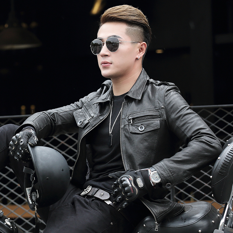 Genuine Leather Jacket Men Sheepskin Coat Motorcycle Jacket Man Short Vintage Real Leather Jackets ASDP-23-1406 YY277