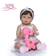 NPK 47CM newborn doll reborn baby girl doll in tan skin full body silicone Bath toy lol dolls gift girl