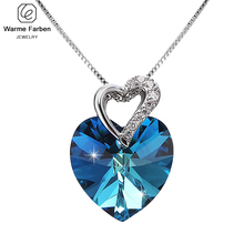 مزين بالكريستال من سواروفسكي النساء قلادة غرامة مجوهرات الأزرق القلب كريستال قلادة قلادة هدية عيد الحب