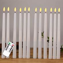 6 peças de controle remoto conduziu velas eletrônicas do atarraxamento com pavio preto, temporizador velas conduzidas flameless para o feriado do aniversário do casamento