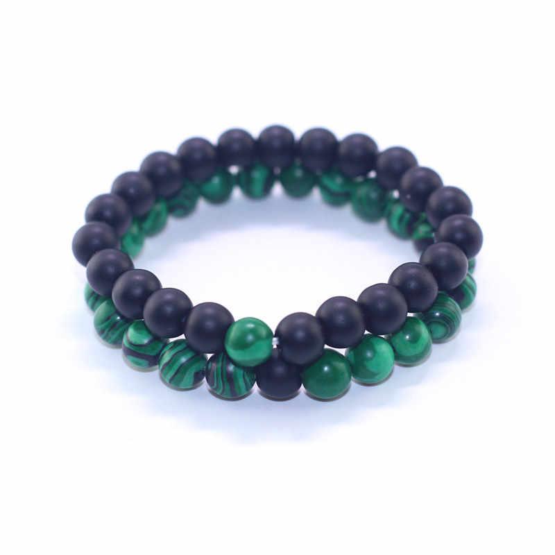 50 個 2 個トレンディ黒とグリーン天然石ビーズブレスレット愛好家のための腕輪の宝石類のギフト弾性ブレスレット