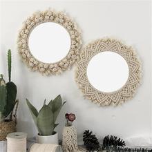 Круглое кружевное Настенное подвесное зеркало арт-деко ручная работа Хлопковый Канат круглое зеркало для гостиной