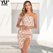 YUBAIBAI 2019 New Arrilvas Autumn Sequins Mini One Shoulder Dress For Women Lace Mesh Sexy Tassel Party Clubwear Female