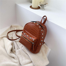 FANTASY New Style Fashion Crocodile Pattern Rivet PU Leather Backpack For Women School Bags Female Small Casual Wild Punk Bags