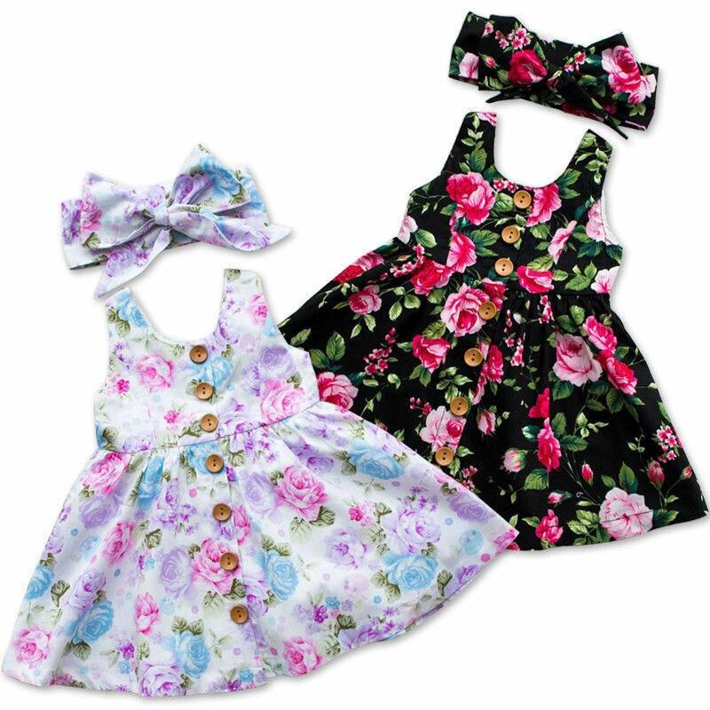 New Toddler Kids Baby Girl Dresses Floral Tank Dress Match Headband Summer Button Sleeveless Sundress Princess Dress Infant Girl