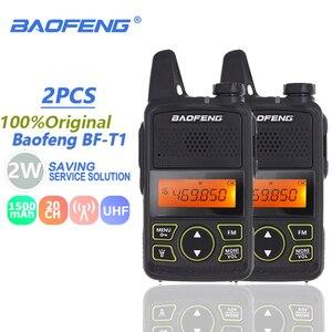 Image 1 - 2 قطعة Baofeng BF T1 الاطفال مصغرة اسلكية تخاطب UHF المحمولة اتجاهين راديو FM وظيفة هام راديو Baofeng T1 USB الطفل HF جهاز الإرسال والاستقبال