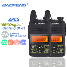 2pcs Baofeng BF T1 Mini Kids Walkie Talkie UHF Portable Two Way Radio FM Function Ham Radio Baofeng T1 USB Child HF Transceiver