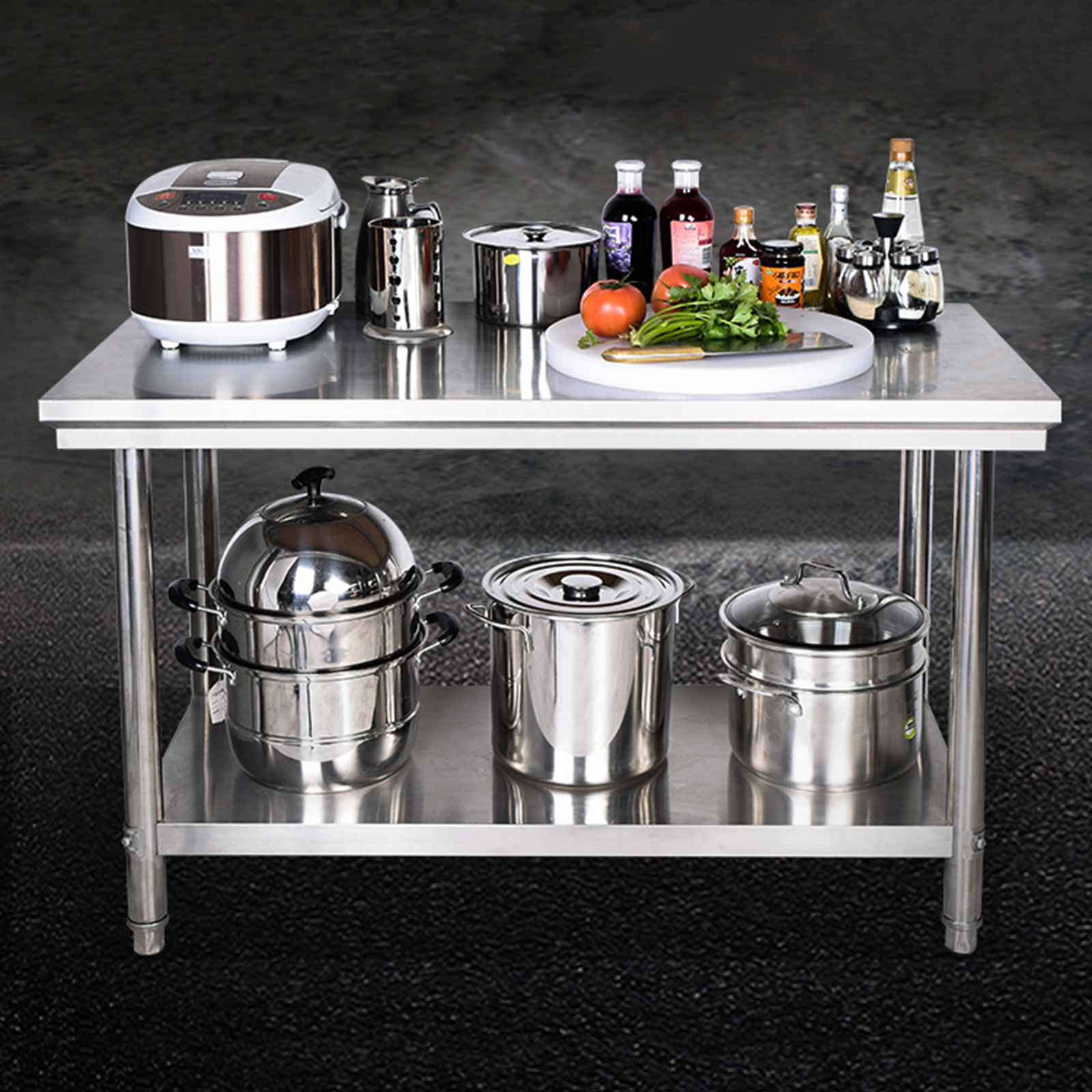 47 inch Heavy Duty Stainless Steel Home Kitchen Workbench Table with Shelf in Racks Holders from Home Garden
