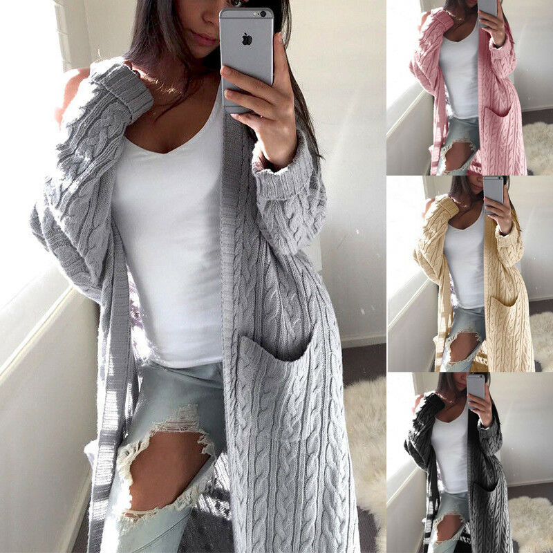 Autumn Winter Batwing Long Sleeve Knitted Cardigan Woman Soft Knitted Sweater Pocket Design Cardigan Woman Jumper Pink Coat